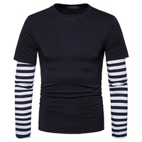 Bleuziel Autumn Patchwork Casual T Shirt Men Fake Two Pieces Striped Sleeve Pullover Tops Tees Long