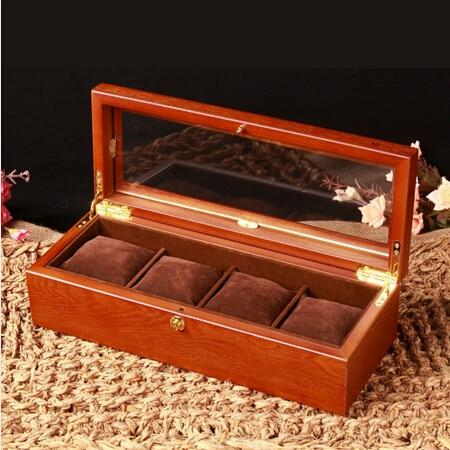 Retro antiguo 4 red caja de reloj de madera relojes de madera con ventana  de cristal relojes reloj Patek MSBH003b e0ea57291857
