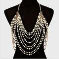 Lujo cadena de vientre cuerpo sexy arnés collar de perlas mujeres de hombro elegante cadena de la borla de bohemia joyería nupcial de la boda de la cintura