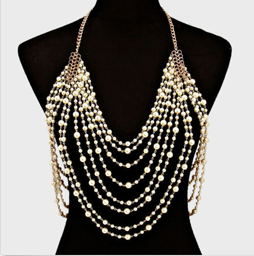 Luxury sexy chain pearl harness necklace women elegant shoulder chain tassel bohemian wedding bridal waist jewelry dancer feather faux pearl waist belt chain