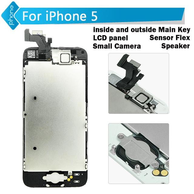 Para iphone 5 5c 5s 6 6 plus display lcd com tela de toque digitador assembléia + quadro + botão home + câmera frontal