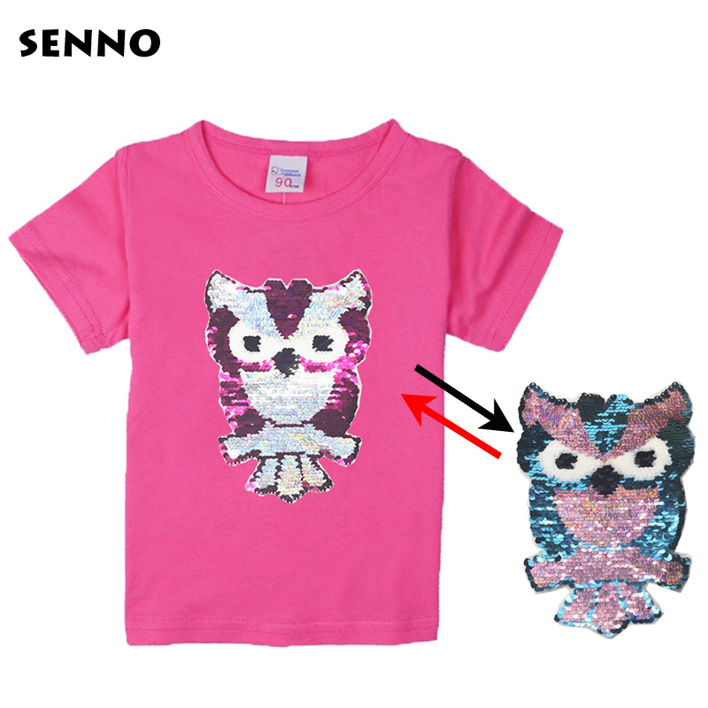 SENNO 2018 New Sequins Owl Toddler Infant Children Kid Casual Printed Top Baby Kids Girl T-shirt Cotton Kids Clothes 2-10T pocket chest printed casual shirt