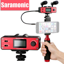 Saramonic SmartMixer Genggam Rekaman Stereo Mikrofon Rig untuk iPhone 7 6 6 s 5 5 s & Samsung Galaxy Xiaomi smartphone