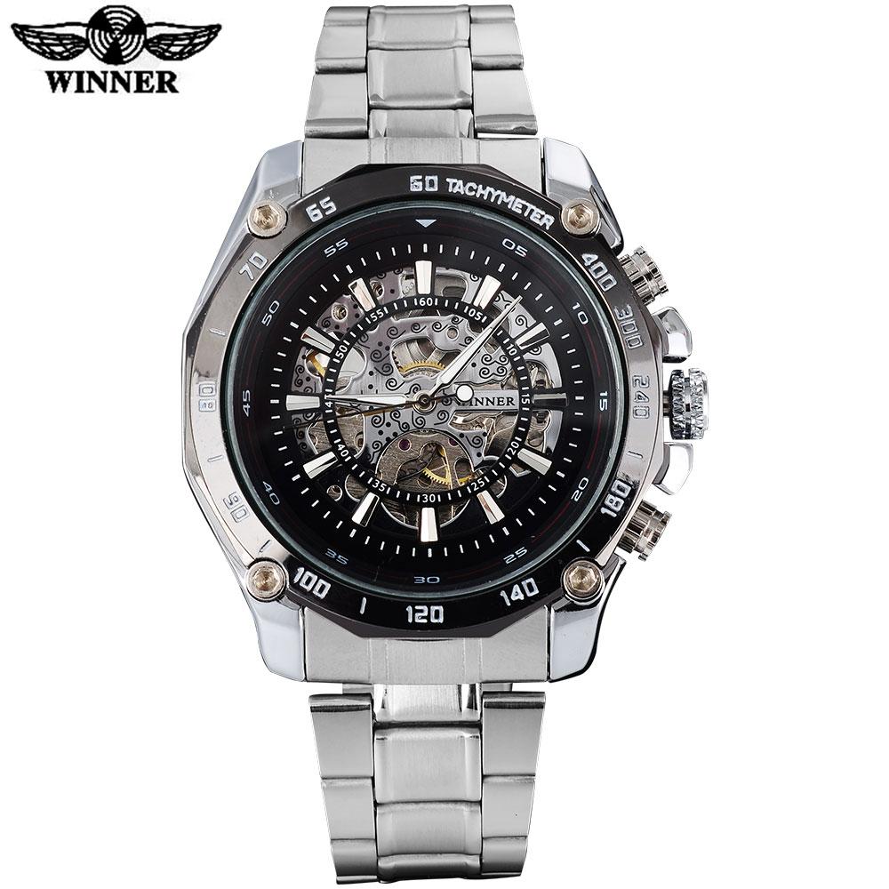 Prix pour GAGNANT mode casual hommes mécanique montres célèbre chaude marque hommes squelette noir montres en acier inoxydable bande reloj hombre