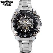 GAGNANT mode casual hommes mécanique montres célèbre chaude marque hommes squelette noir montres en acier inoxydable bande reloj hombre