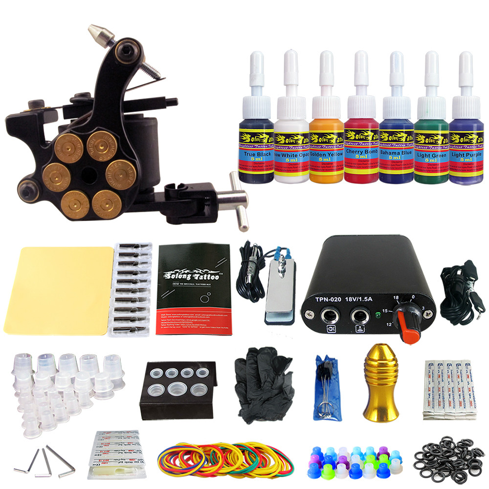 Solong Tattoo Complete Tattoo Kit Set Including Tattoo Machine Gun Inks Power Supply Needles Permanent Makeup for Liner&Shader solong tattoo kit hybrid kit rotary machine eyebrow permanent makeup pen motor 20 needles cartridges rca connection line tattoo