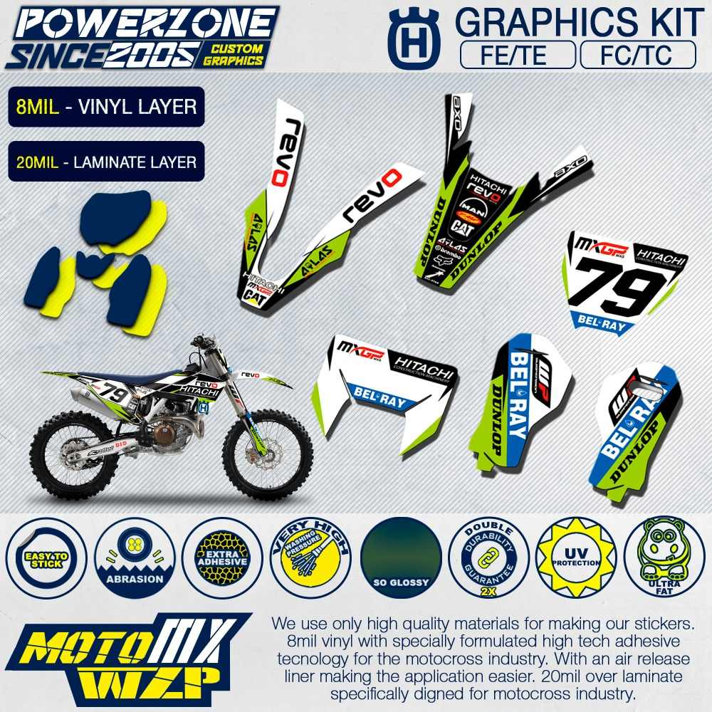 Customized team graphics backgrounds decals 3m custom stickers revo kit for husqvarna 2014 19 fe
