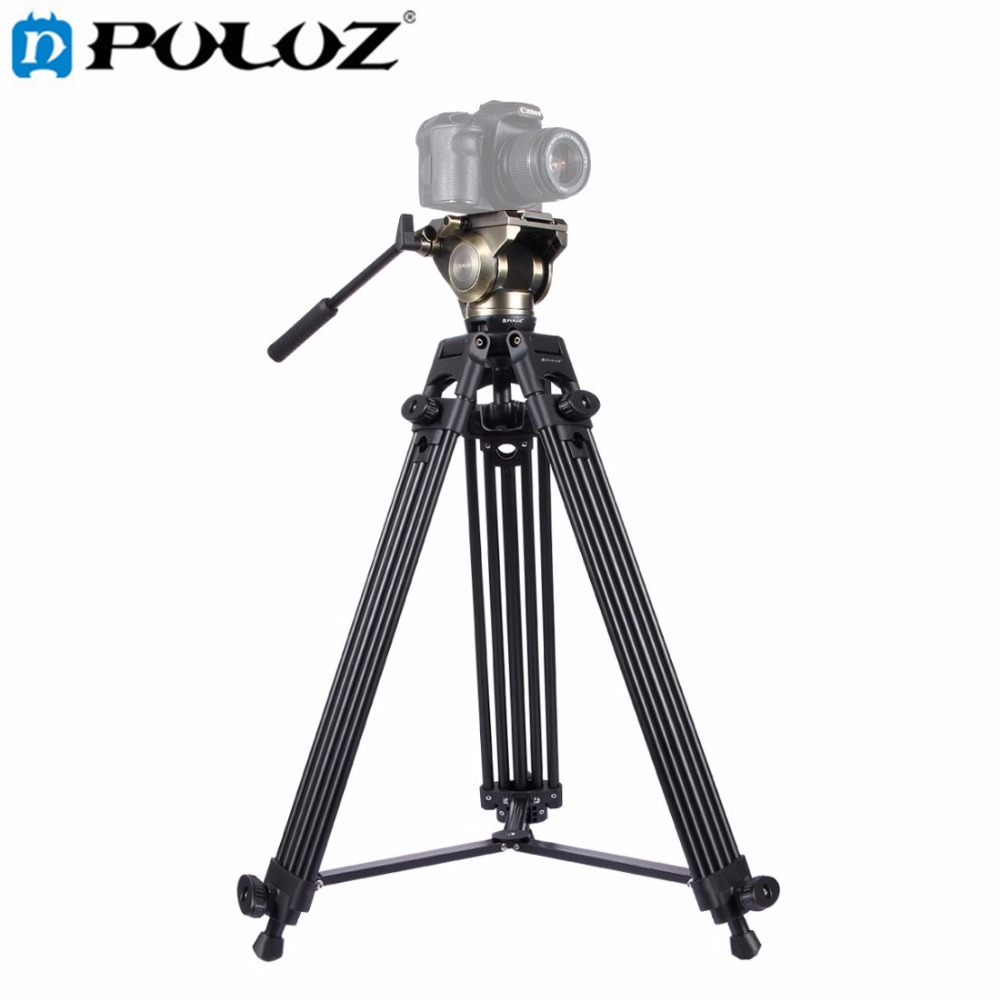 PULUZ Heavy Duty Video Camcorder Aluminum Alloy Tripod with Fluid Drag tripod Head for Canon Sony  Nikon DSLR SLR Camera