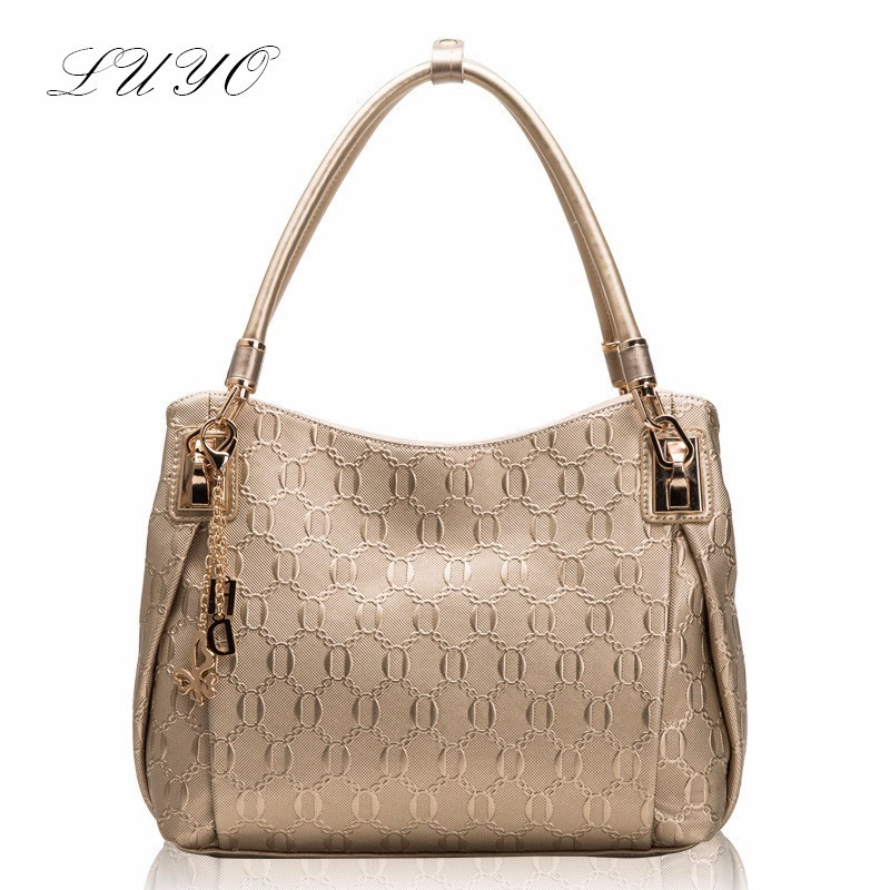 ФОТО 2016 Summer Embossing Genuine Leather Gold Tote Shoulder Famous Brands Luxury Handbags Women Messenger Ladies Bags Designer
