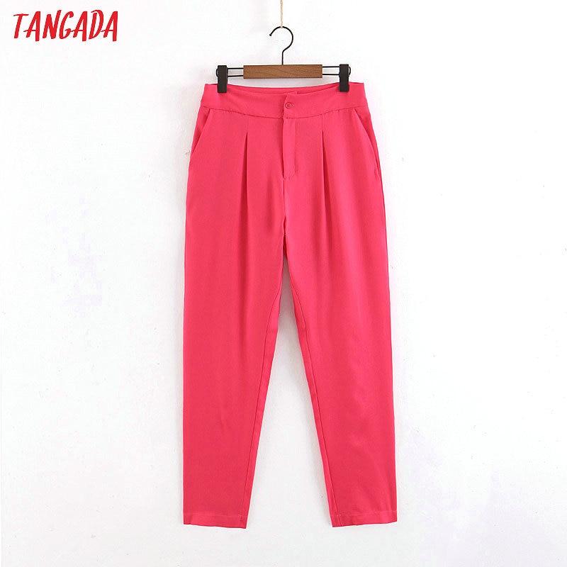 Tangada Women Pink Suit Pants Pocket Zipper Female Office Ladies Suits Long Pants Korean Women Bottoms Pantalon Femme SL302