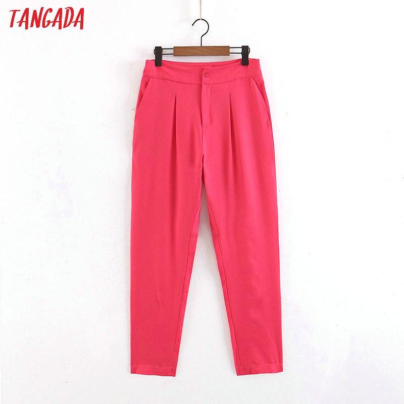 1022.73руб. 30% СКИДКА|Женский костюм Tangada, розовые брюки на молнии с карманами, длинные брюки в Корейском стиле, SL302|Брюки | |  - AliExpress