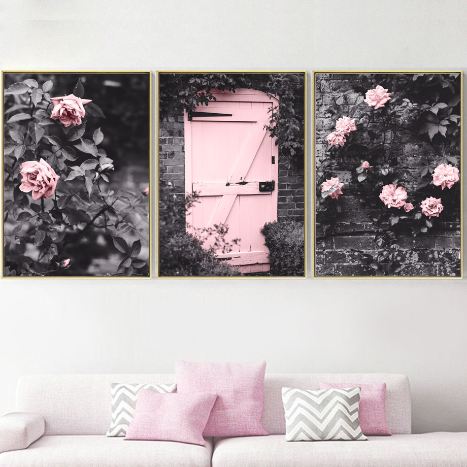 Classic Pink Flowers Wall Art Nordic Poster Pictures For Living Room Canvas Painting Plants Picture Quotes Home Decor Unframed in Painting Calligraphy from Home Garden