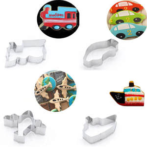 Transportation Cookies Pastry Fondant Mold Aircraft Car Ferry Stainless Steel Cake Mold Sugarcraft Decorating Frame Cutter Tools