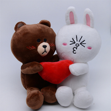 1 Pair Brown Bear and Bunny Plush Toys Cony Dolls with Heart for Wedding Gift Male Bear and Female Rabbit for Bride and Groom rabbit and bear attack of the snack