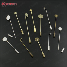 20PCS with stopper with Can paste Round Disk Brass Brooch Ba