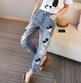 31 calças de brim denim calças mulheres primavera outono 2016 bermuda feminina de impressão dos desenhos animados mickey buraco calças de brim das mulheres denim calças feminino A0926