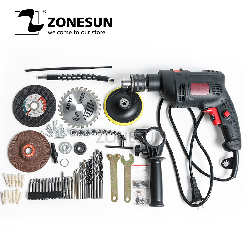 ZONESUN Rotary drill Electric Screwdriver portable reversible power tools automatic woodworking steel, Aluminum drilling machine
