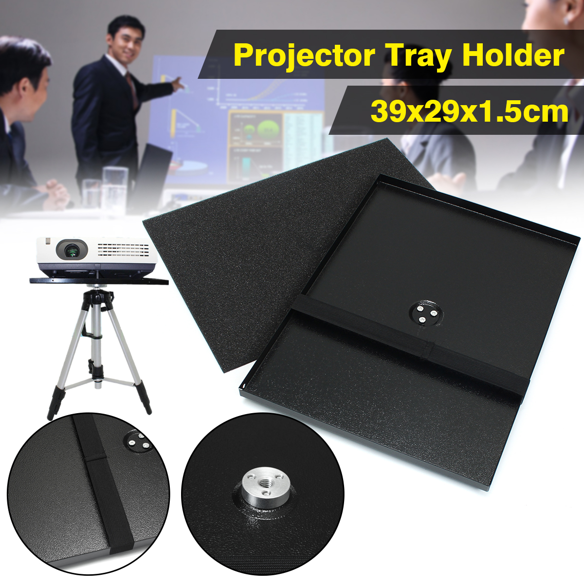 Metal Projector Tray Holder For 1/4 3/8 Screw Tripod & 7-15 Laptop for Projector Monitors Rugged & Durable Solid StrongMetal Projector Tray Holder For 1/4 3/8 Screw Tripod & 7-15 Laptop for Projector Monitors Rugged & Durable Solid Strong