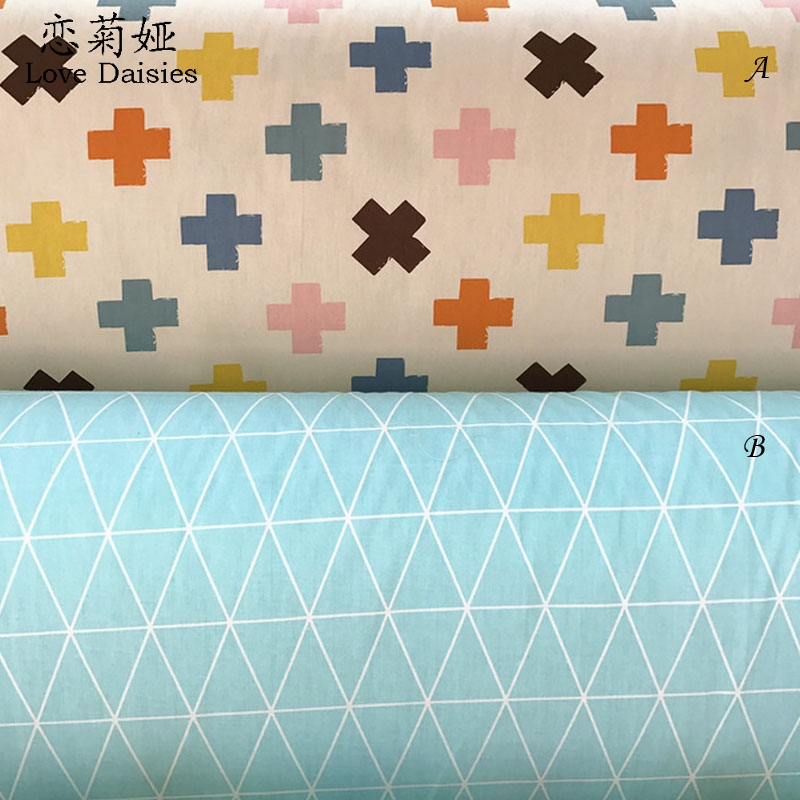 100% cotton twill cloth geometric color plus Multiplication sign rhombus fabric for DIY kid bedding cushions handwork quilting