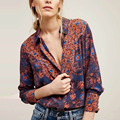 Vintage Baroque Colorful Ethnic Floral Pattern Blouse Turn-down Collar Shirt Long Sleeve Casual Women Gypsy Hippie Boho femme
