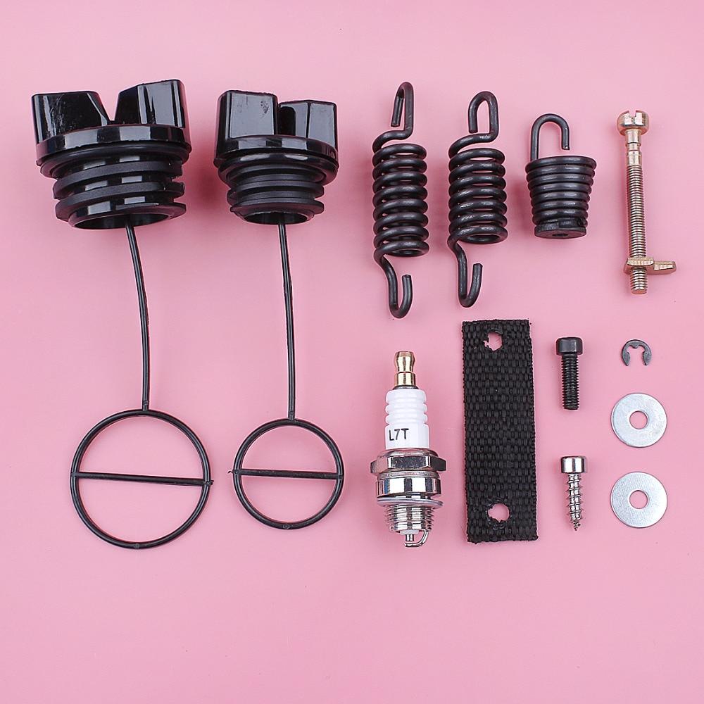 AV Buffer Shock Spring Set For Partner 350 351 Fuel Oil Tank Cap Chain Adjuster Tensioner Spark Plug Chainsaw Replace Spare Part