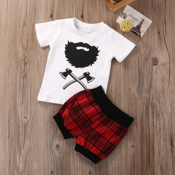 2017 Newborn Baby Boys Clothes Sets Summer Style Short Sleeve T-shirt Tops+Red Plaid Casual Boy Outfit 2pcs Sets family fashion summer tops 2015 clothers short sleeve t shirt stripe navy style shirt clothes for mother dad and children