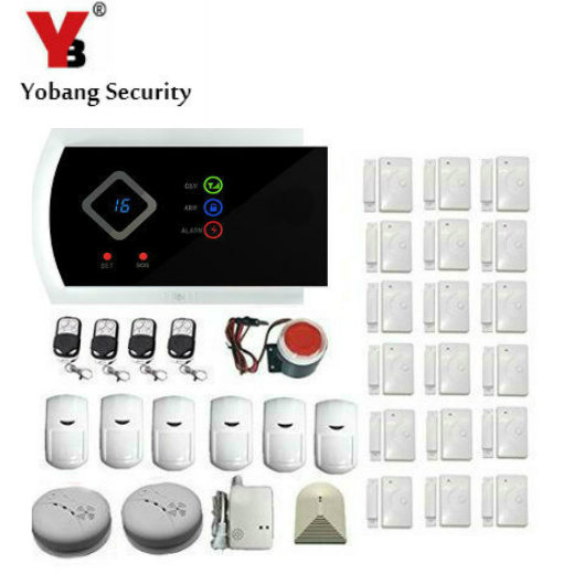 YobangSecurity GSM Home Alarm System Kits IOS/Android APP with Remote Control PIR Motion Gas Smoke Door/Window Detector 433Hz yobangsecurity wifi gsm gprs home security alarm system android ios app control door window pir sensor wireless smoke detector
