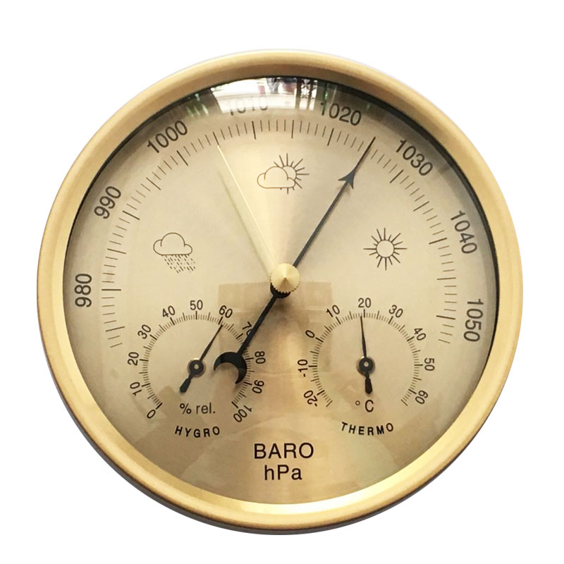 Wall Hanging 132mm Gold Color Thermometer Hygrometer Barometer Temperature & Humidity Weather Meter недорго, оригинальная цена