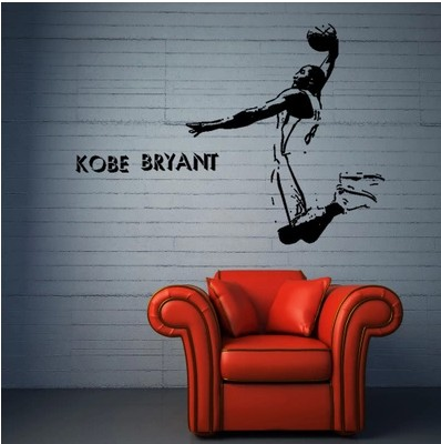 Free shipping the lakers 39 kobe Bryant Basketball sticker black mamba cartoon movement decorative wall stickers in Wall Stickers from Home amp Garden