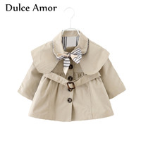Dulce Amor Autumn Baby Girls Jacket Coat Toddler Clothes Full Sleeve Windbreak With Bow Kids Trench