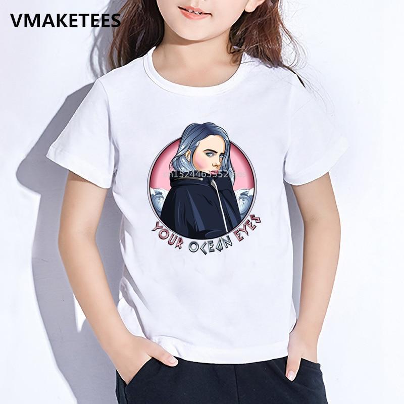 Kids Summer Short Sleeve Girls & Boys T Shirt Children Billie Eilish Printed T-shirt Fashion Casual Baby Clothes,HKP5265