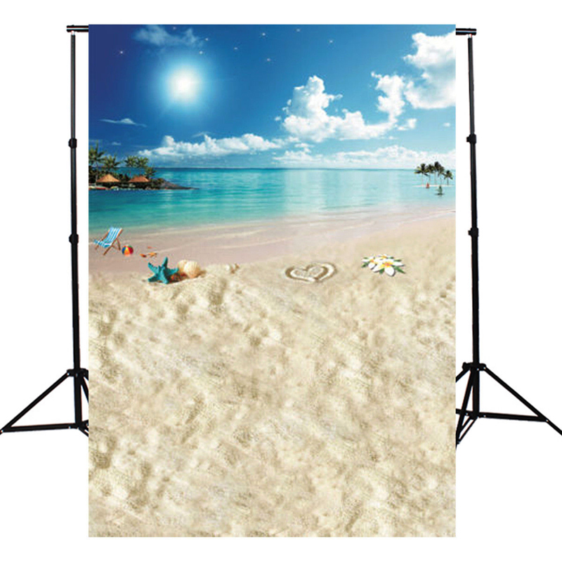5x7ft Sun Sky Blue Ocean Beach Photography Background Cloth Vinyl Backdrop Suitable For Studio Photo Studio