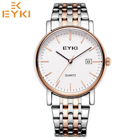 Relógio de Quartzo para Mulheres dos Homens Relógio de Pulso à Prova Eyki Moda Negócios Dwaterproof Água Senhoras Aço Inoxidável Pulseira Masculino 2020 Novo E2046