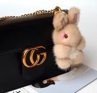 Bunny Keychain Rabbit Cute Fluffy Key Chain Rex Genuine Rabbit Mink Fur Pompom Key Ring