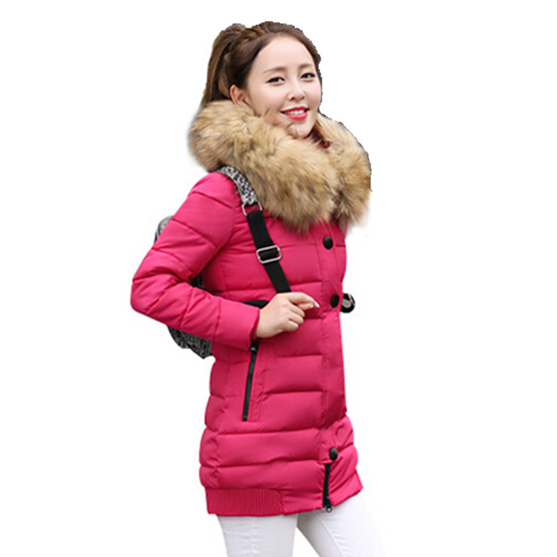 Hot sale 2016 new Winter Jacket Women Large Fur Collar Hooded Jacket Thick Coat For Women