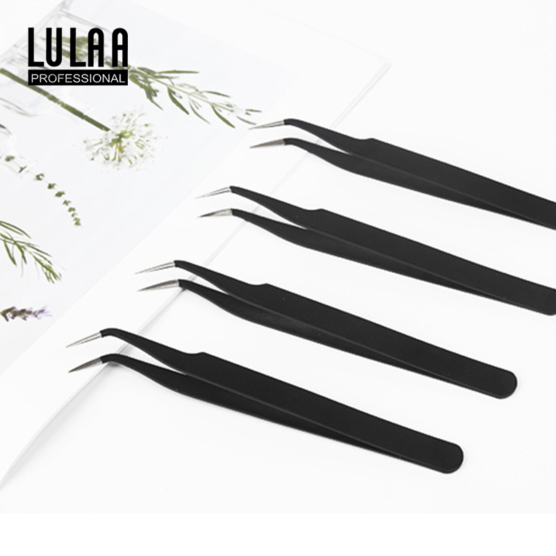 LULAA 1pcs Acrylic Nail Shaping Tweezers Stainless Steel Multiple-Functional Nail Clip C Curve Pincher Rhinestone Picker Tool