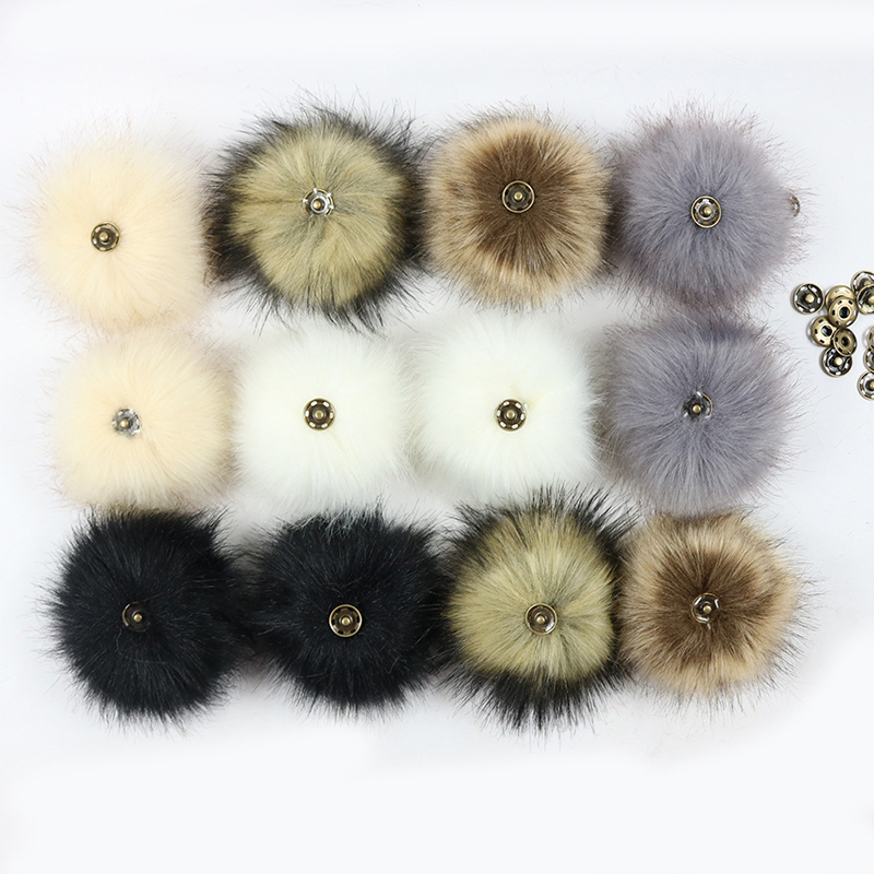 False Hairball Hat Ball Pom Pom Handmade DIY Artificial Wool Ball Wholesale Cap Accessories Faux Fox Fur PomPom With Buckle