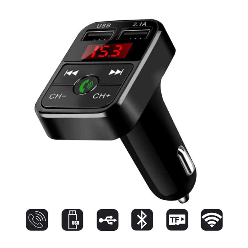 Handsfree Wireless Bluetooth Car  Kit FM Transmitter TF Card LCD MP3 Player Dual USB 2.1A Car Charger Phone Charger Z2