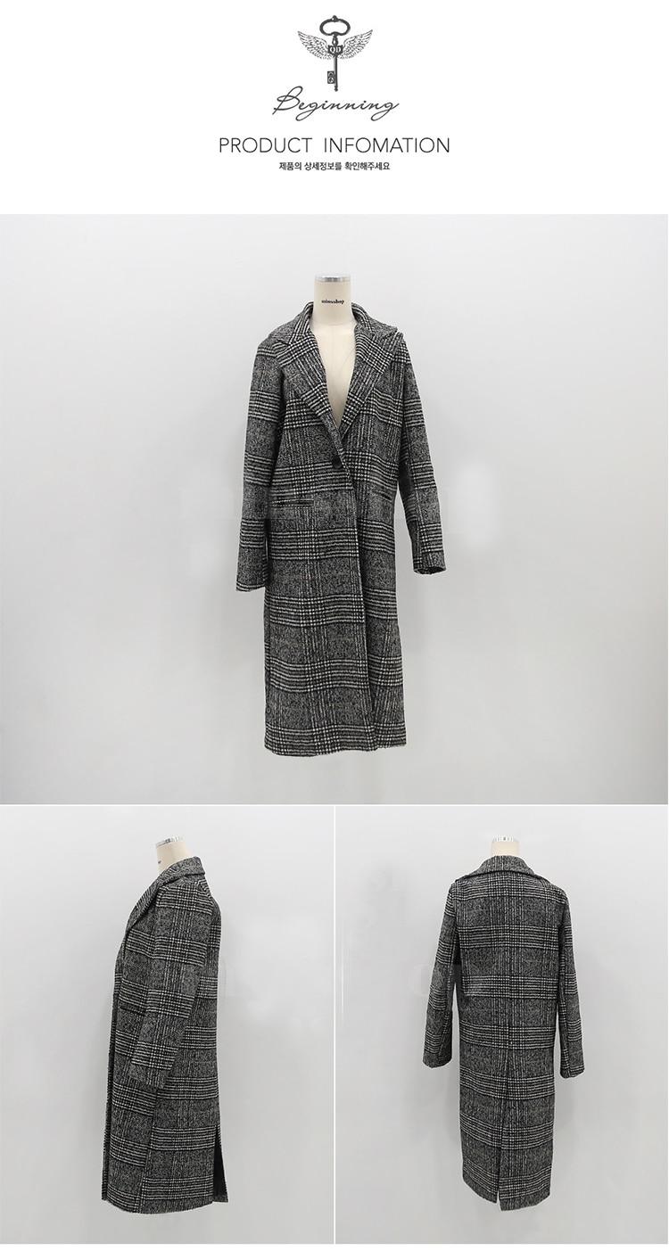 19 Spring Autumn Women's Wool Plaid Coat New Fashion Long Woolen Coat Slim Type Female Winter Wool Jackets Female Outw 17