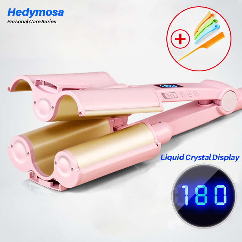 Hedymosa Curling hair curler irons for a wave of hair modeler wand soft corrugation Top insulation Ceramic coating curls