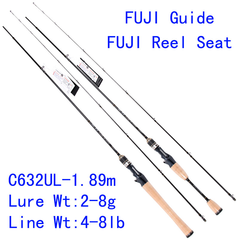 Tsurinoya PRO FLEX C632UL-1.89m 95g UL Action Carbon Lure Fishing Rod Ultra Light Casting Rod FUJI Guide Reel Seat Soft Rod trulinoya pro flex c652ml 1 95m ml action fuji guide reel seat bait casting rod high carbon 3a cork hanle cast fishing rod pesca