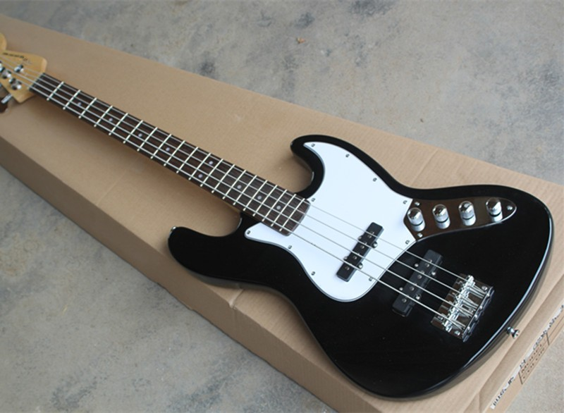 Black 4 Strings Jazz Electric Bass Guitar,White Pickguard,Offer Customized