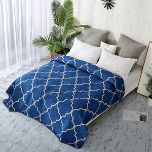 1pcs lantern bedspread blue Geometric coverlet classic quilted 200*220 bed cover European Polyester blanket duvet quilt 150*200|Bedspread|Home & Garden -