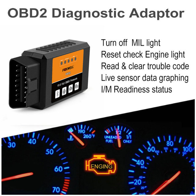 Foxwell Elm327 OBD2 Bluetooth Scanner Elm 327 V 1.5 OBDII Adaptor Code Reader Auto Diagnostic Scanner for Car OBD 2 Elm327 V1.5