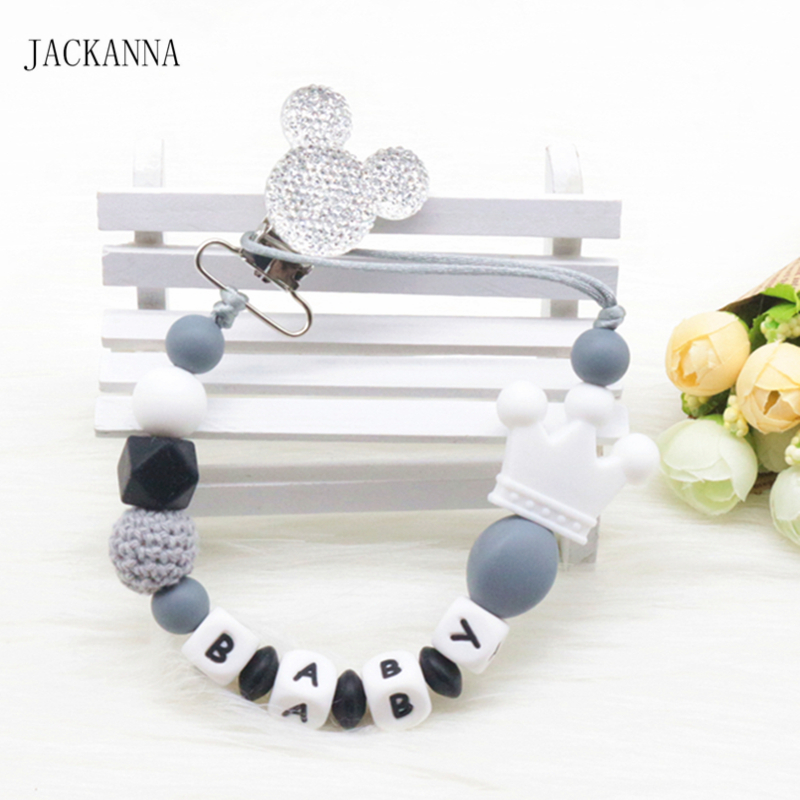 Personalise Name Baby Pacifier Clips Mouse Head Dummy Clip Newborn Attache Sucette Baby Gift Silicone Baby Pacifier Holder Chain