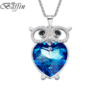 BAFFIN Blue Crystals From SWAROVSKI Owl Maxi Chokers Necklaces Pendants For Women Girl Gifts Fashion Animal