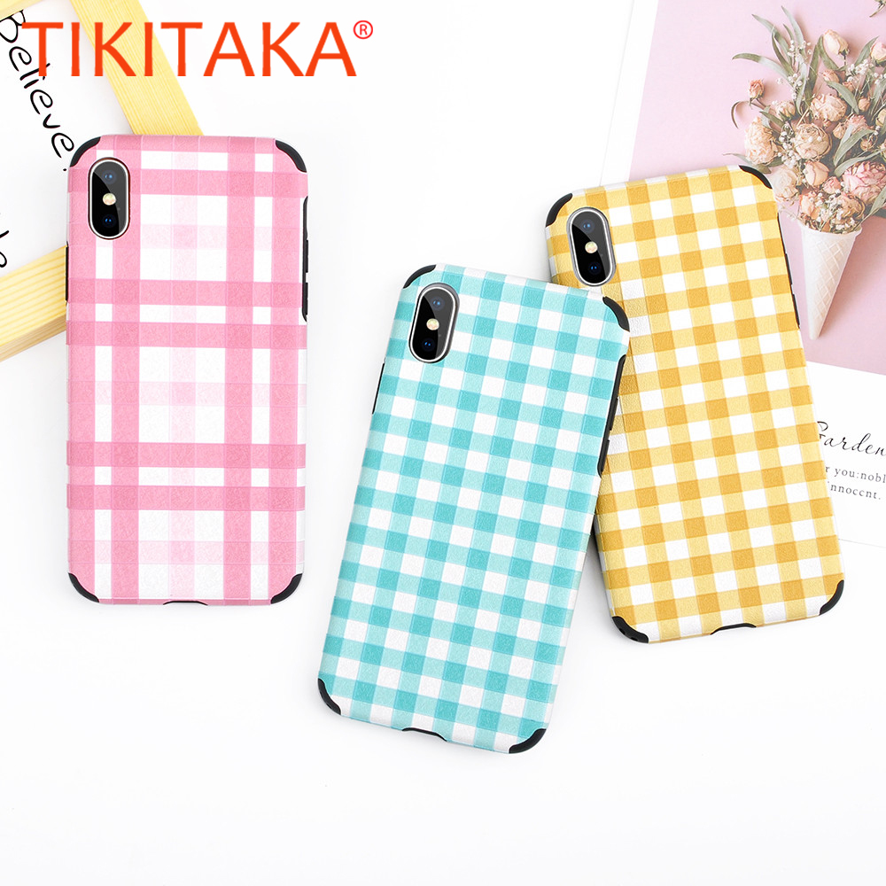 1768b124449a TIKITAKA Fresh Rural Grid Phone Case For iphone 7 7 Plus Corner Protective  Case For iphone X 6 6s 8 Plus Soft TPU Back Cover