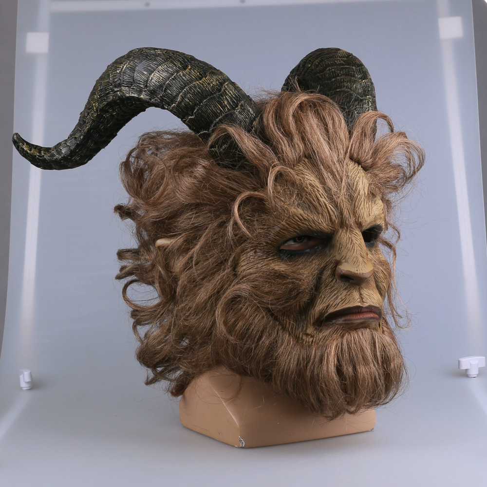 2017 Hot Movie Beauty and the Beast Adam Prince Mask Cosplay Horror Mask Latex Lion Helmet Halloween Party (13)