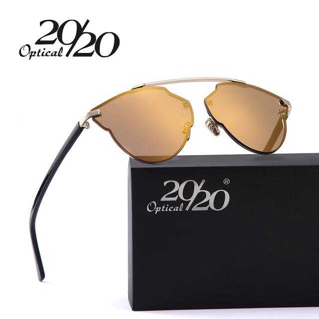 20/20 new mulheres óculos de sol óculos cat eye mulheres óculos de design da marca de luxo revestimento reflexivo óculos de sol óculos de armação de metal
