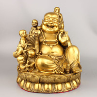 Boy outlets Pure copper medallion abital laughing Buddha furnishing articles Large copper maitreya protect peaceful decoration